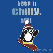 Keep it chilly, bro! Snowboarding penguin in toboggan Keywords: Keep chill  bro Snowboarding penguintoboggan