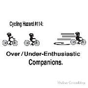 Cycling hazards Overenthusiastic under enthusiastic over under enthusiastic companions
