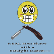 REAL men chave with a straight razor! (scratches, cuts, toilet paper. smiley