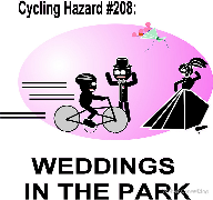 Cycling Hazard - Weddings in the park, bride, run over, groom, screaming bouquet